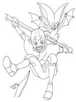 Mewarnai Gambar Avatar Dan Momo Melompat Dengan Tongkat Pengendali Udara