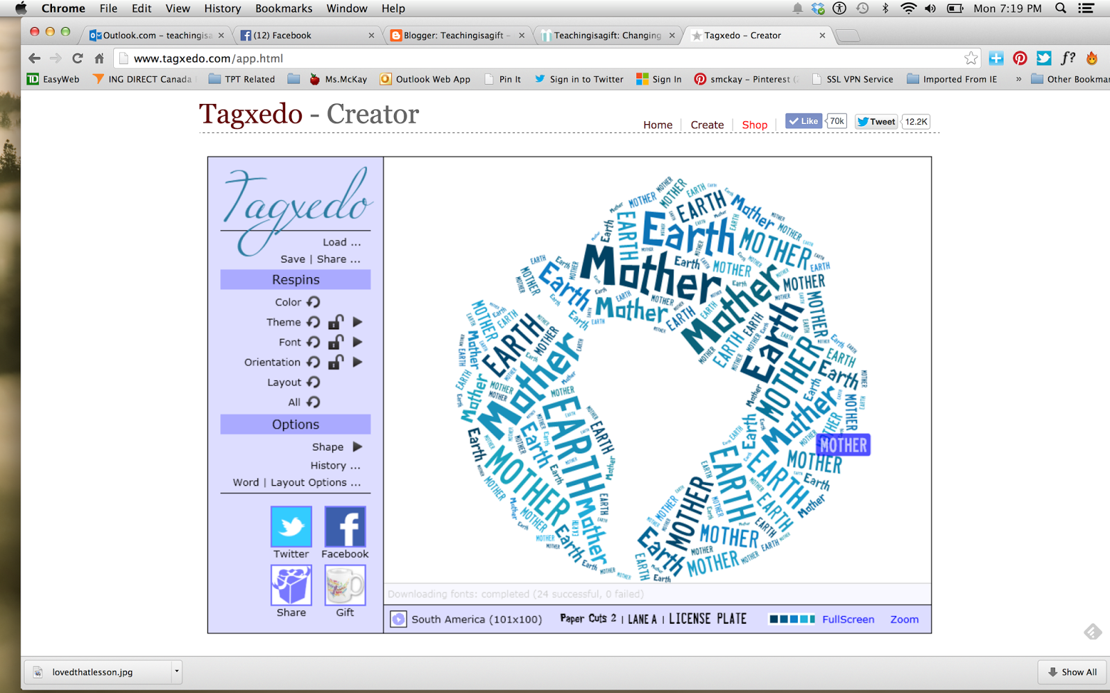 Creating a Wonder Character Trait Image using Tagxedo @ http://teachingisagift.blogspot.ca