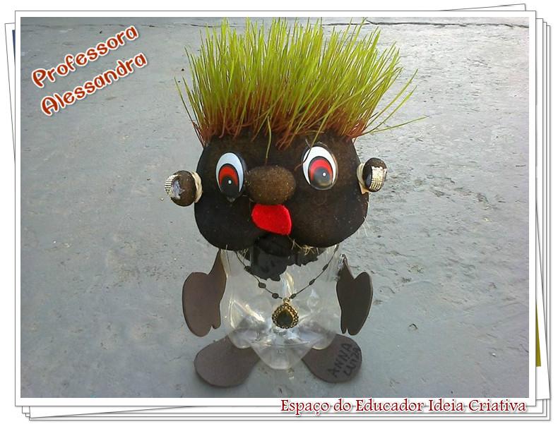 Boneco Cabeça de Alpiste com Garrafa Pet Espaço do Educador Ideia Criativa