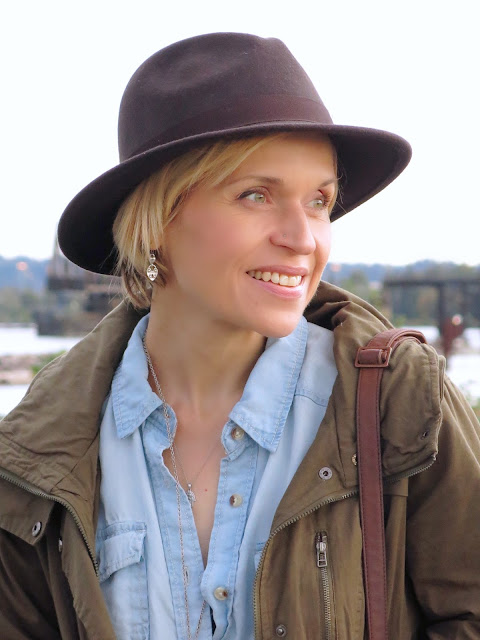 chambray shirt, army parka, and felt fedora