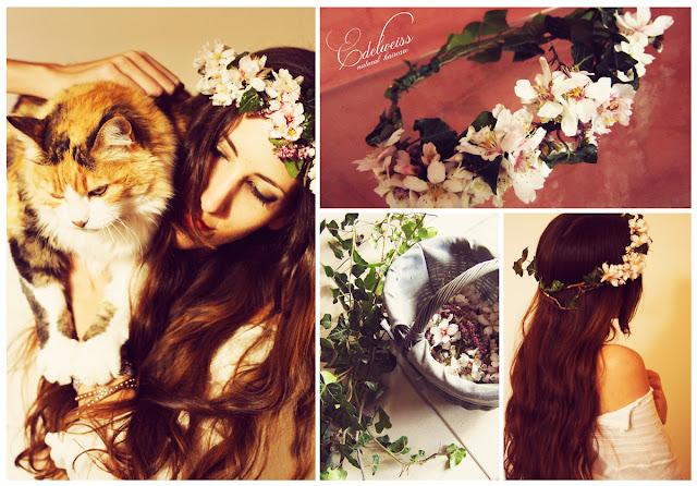 couronne de fleurs d'amandiers cheveux longs tuto