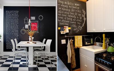 Pintura y madera quieres pintar tus paredes con pintura de pizarra - Pared pizarra cocina ...