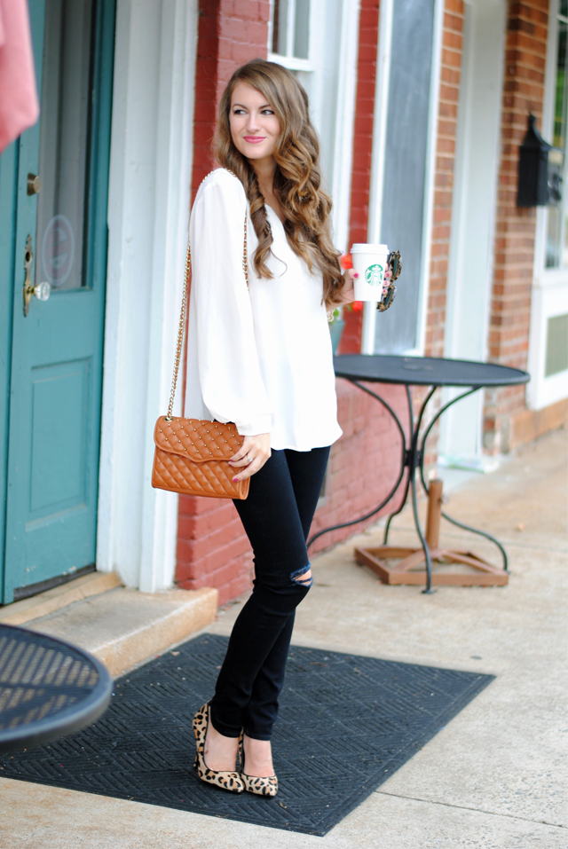 Cute fall look with leopard heels