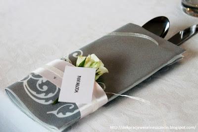 dekoracja serwetek ślubnych
