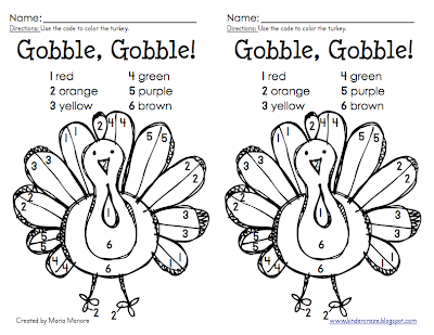 FREE color-by-number turkey coloring pages from Kinder-Craze