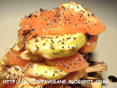 aceto balsamico, carciofi, carpaccio, Contorni, crudista, limoni, pompelmi rosa, raw, Raw Food, ricette vegan, semi papavero, soia, zenzero,