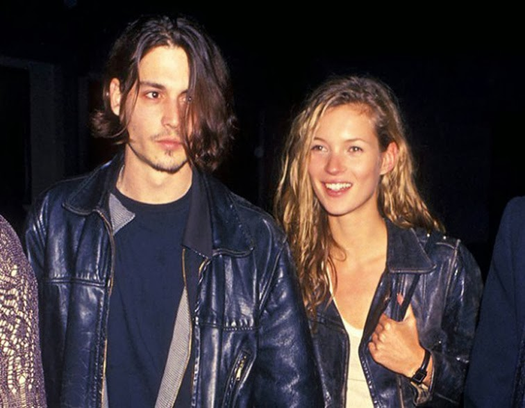 Kate Moss Johnny Depp 90s leather jackets