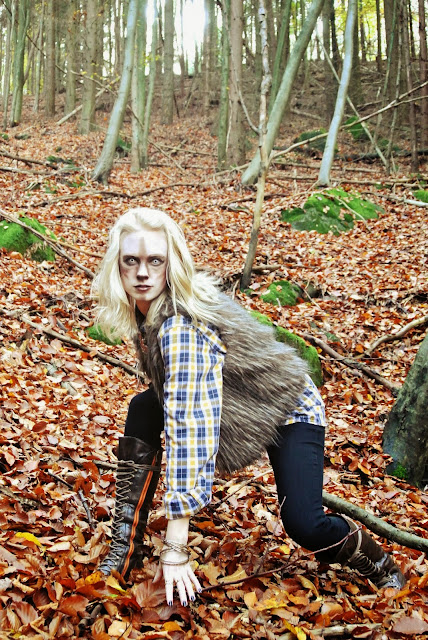 costume, Halloween, werewolf, chic, Camo Eyes, white Manson lenses, colored contacts, style blogger