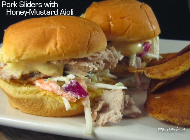 Pork Sliders with Honey-Mustard Aioli and homemade potato chips