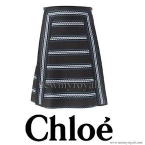 Crown Princess Mary wore CHLOE Striped Skirt