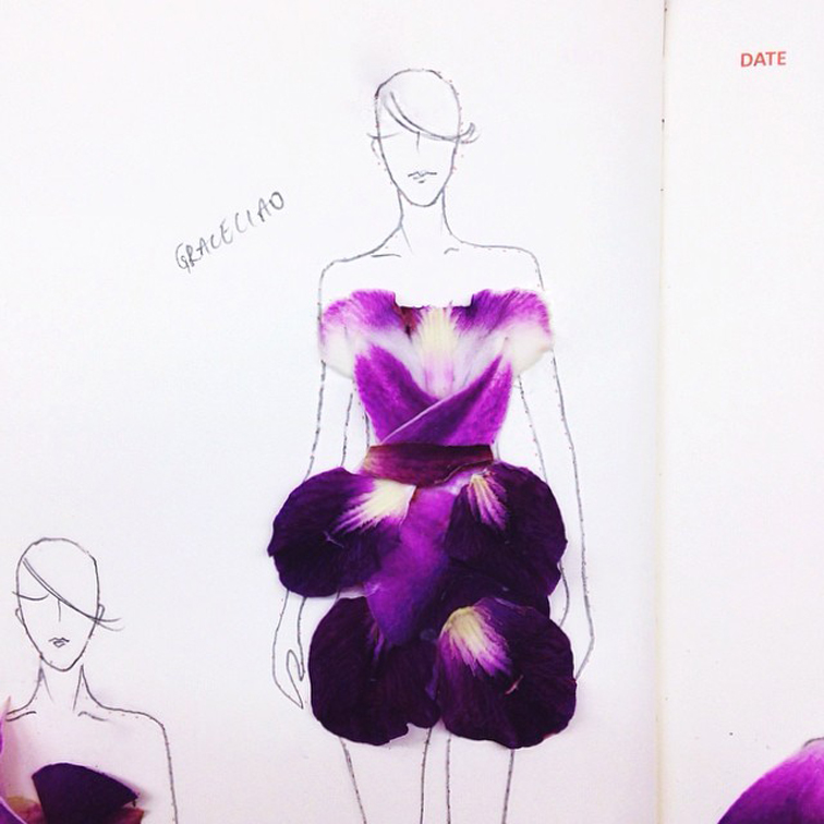 Grace Ciao flower dresses, fashion illustrations made with petals