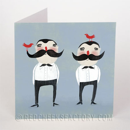 moustache twins now available as postcard