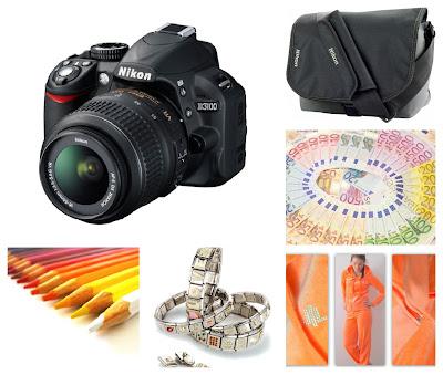 Nikon D3100, kameralaukku, veluuriasu, rahaa, nomination paloja, puuvärikynät