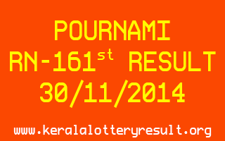 POURNAMI Lottery RN-161 Result 30-11-2014