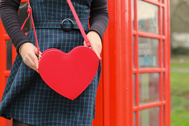 Bright and Beautiful Ruth dress and red heart bag
