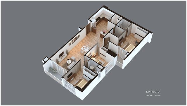 Mặt bằng căn hộ Imperia Garden CH04 66,1 m2