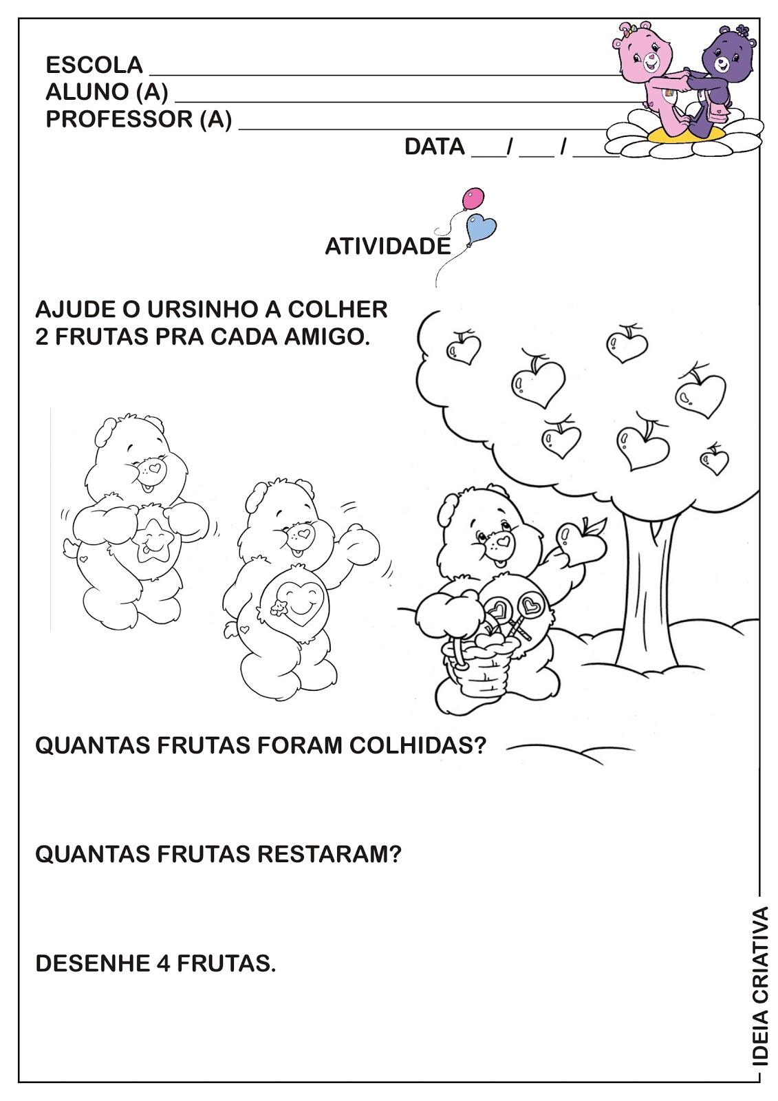 Conhecido Atividade Dia do Amigo Matemática Infantil Contando frutas  MI54