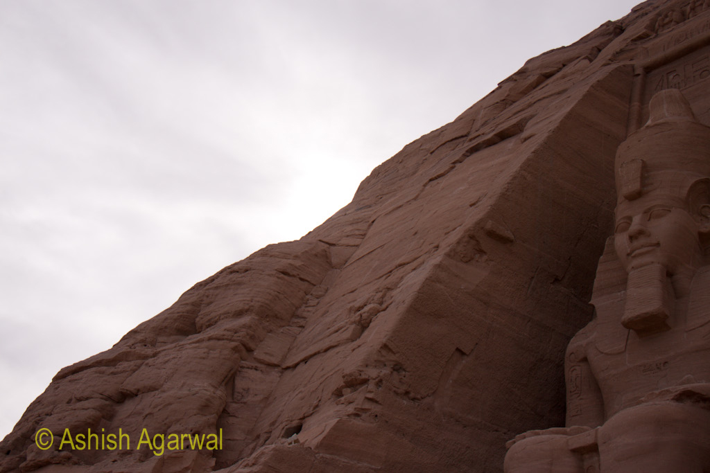View of one of the statues of the Abu Simbel temple in south Egypt