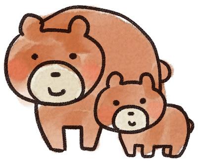 熊の親子のイラスト(動物)