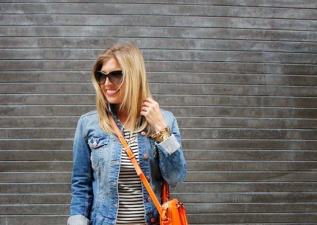 stripes and denim jacket, casual weekend outfit, what to wear in boston