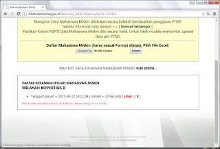 Upload Data Mahasiswa Miskin'