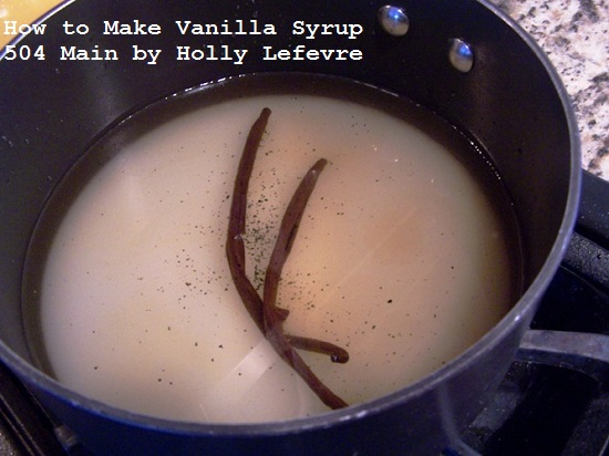 Add sugar, water, and vanilla beans to your pot.