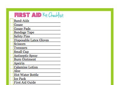 First Aid Kit Contents Checklist Template