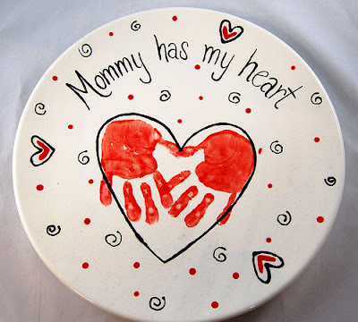 mother's day handprint plate keepsake