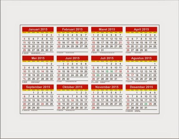 Download Kalender 2015 format CorelDraw Disertai hari libur nasional cdr