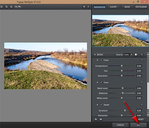 Make adjustments in Topaz plugin and confirm changes on OK button