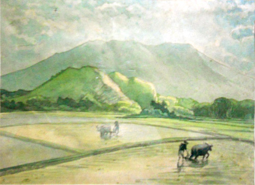 Pemandangan di daerah Kamang. Studi cat air (1966). Hampir tiga tahun ...