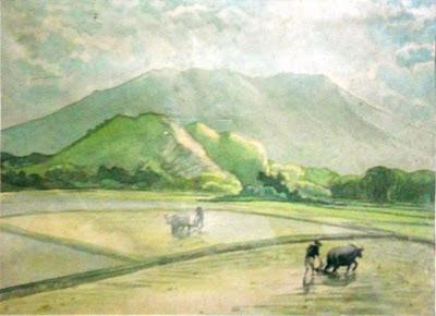 Pemandangan di daerah kamang studi cat air 1966 hir tiga tahun