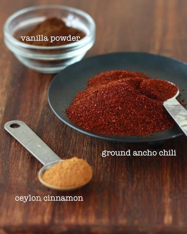 Ground ancho chili pepper, ceylon cinnamon powder, tahitian vanilla powder for dark chocolate truffles