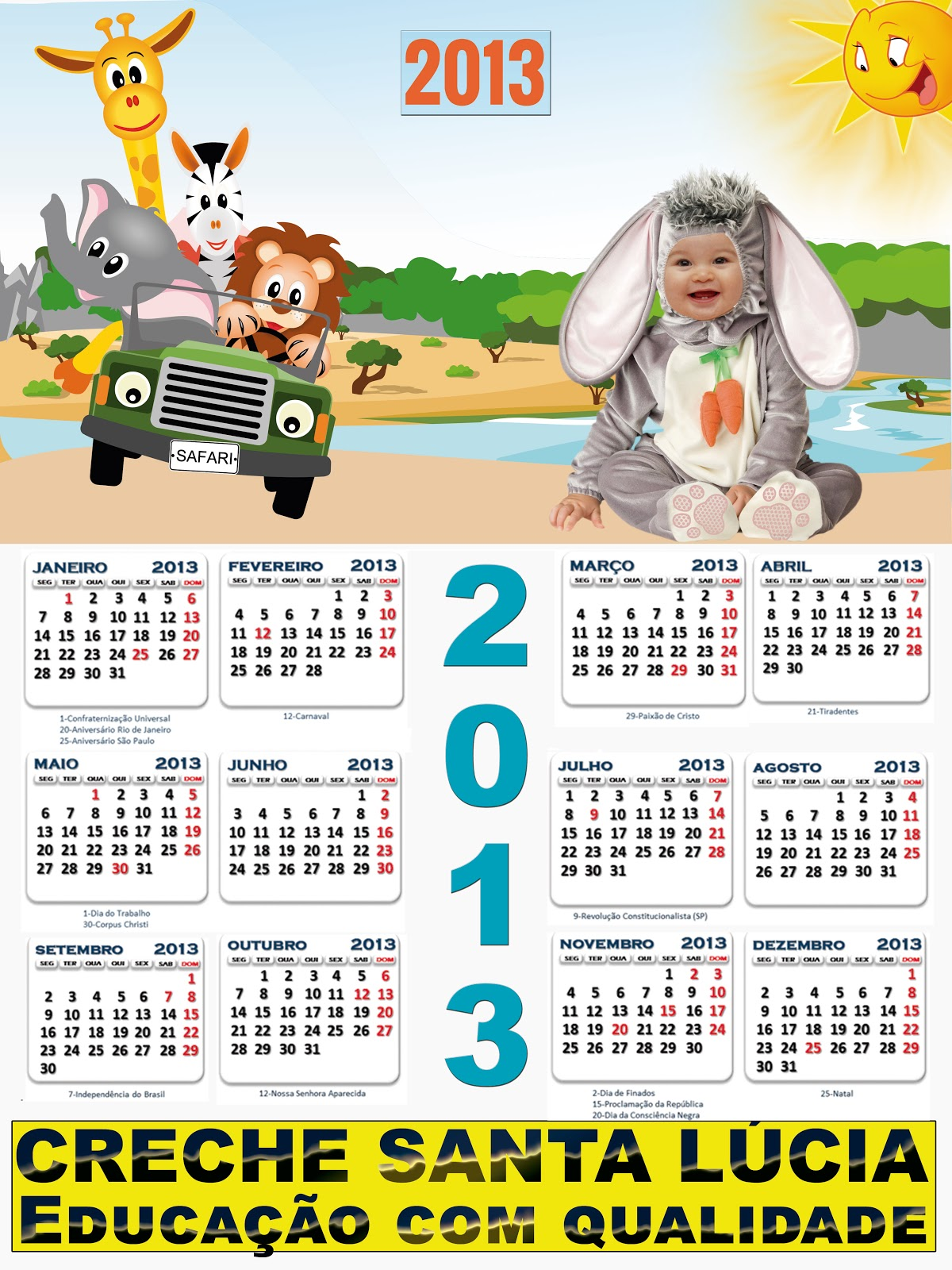 Calendario 2013 PSD CYMK Totalmente Editavel No Photoshop Grid