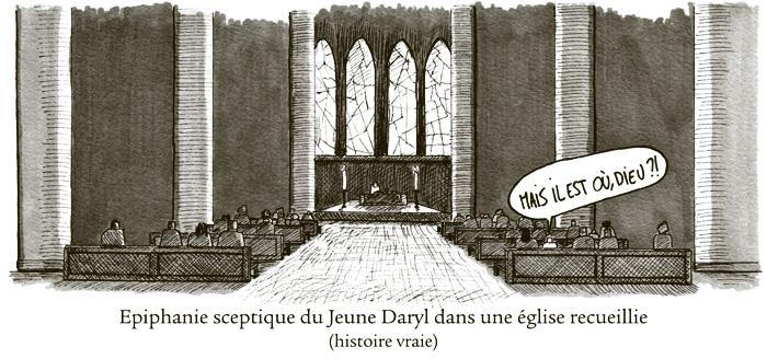 Epiphanie sceptique du Jeune Daryl dans une église recueillie