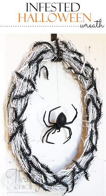 DIY insect infested Halloween wreath. Make this for under $10!