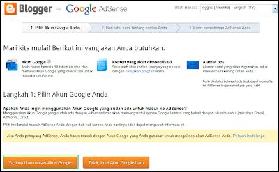 pemilihan akun google untuk google adsense
