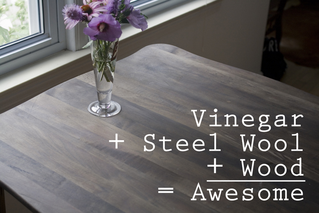 Our old dining room table was unwieldy and falling apart  so we decided  that rather than move it  I would try to fix up an old wooden table we had  on the. bombasine  DIY Wood Refinishing with Vinegar and Steel Wool