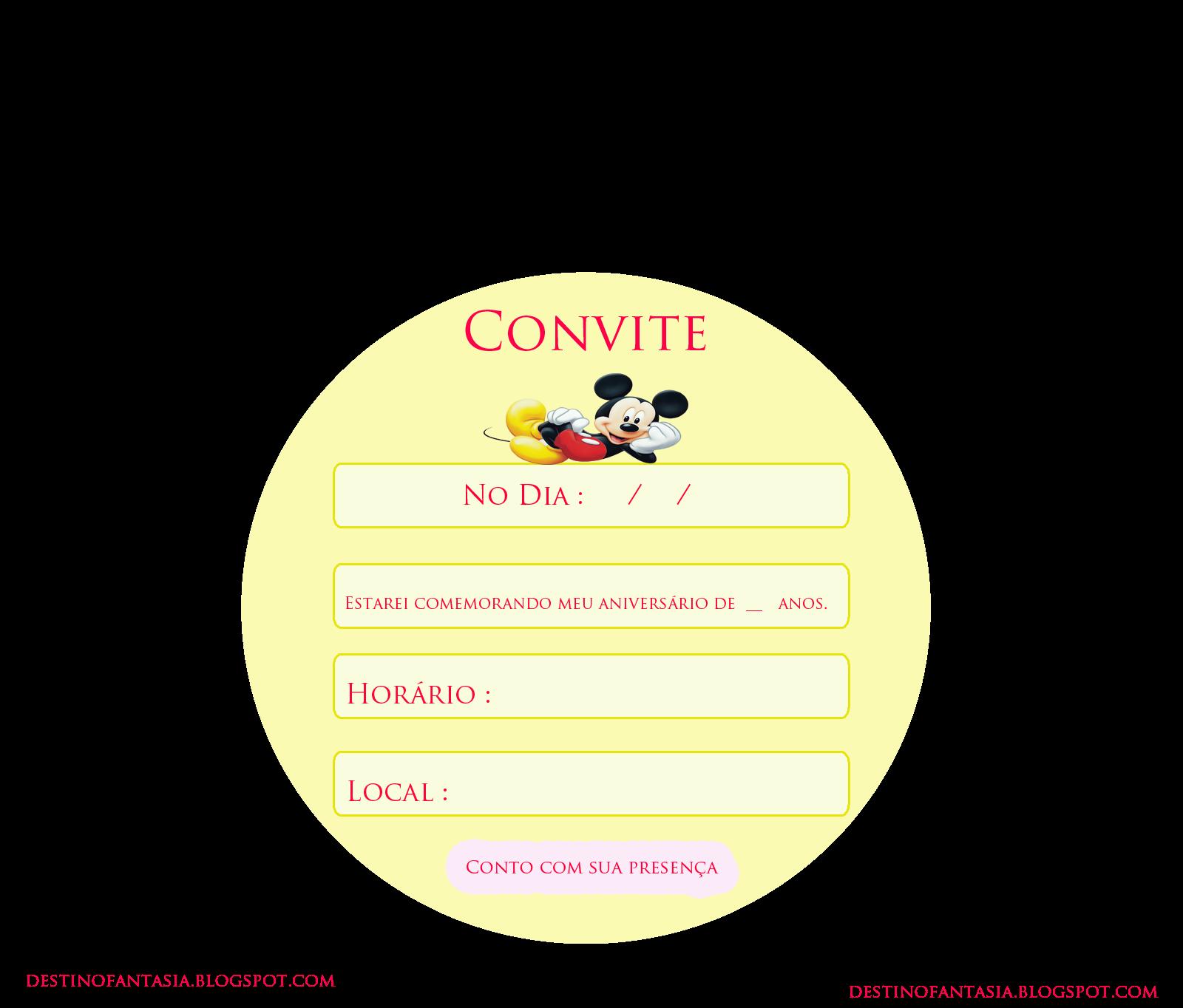 Convite festa mickey