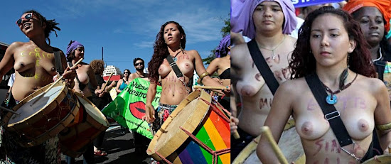 topless protesters in Rio