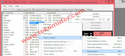Cara Import Player di PES 2013