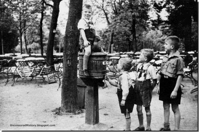 German children play in Ashmann Park, Koenigsberg in 1937