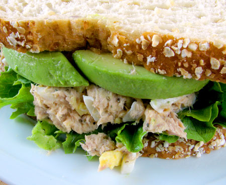 Ingredients for Tuna fish salad recipe with egg