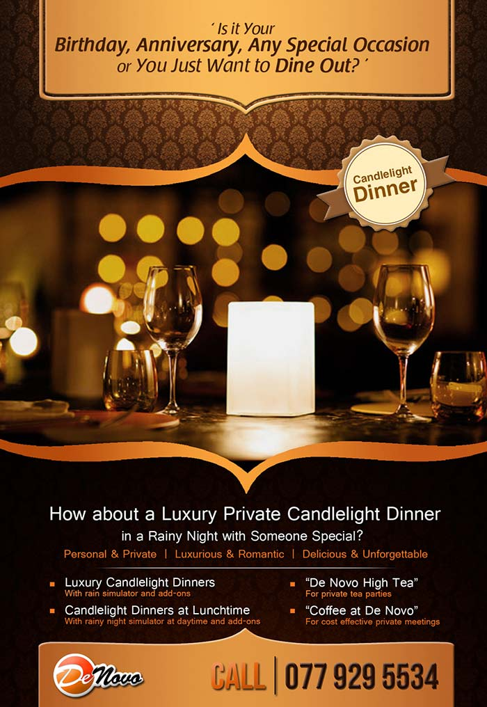 A Romantic Candlelight Dinner at De Novo, Sri Lanka! It's Ideal for Romantic Treats, Birthdays, Anniversaries or just as a Candlelight Dinner with