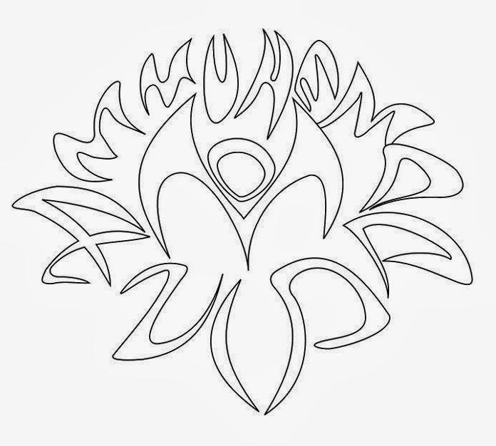 Lotus bud tattoo stencil