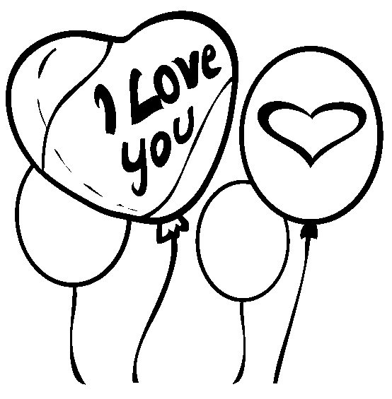 Valentine balloons coloring pages for Balloon coloring pages