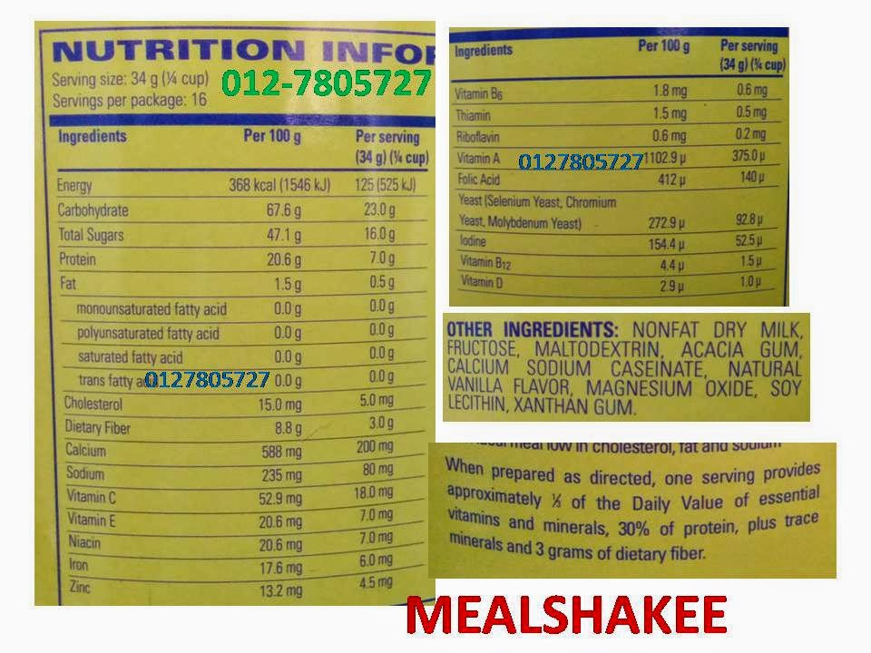 ingredients mealshake nutrition nutrisi mealshake hidangan