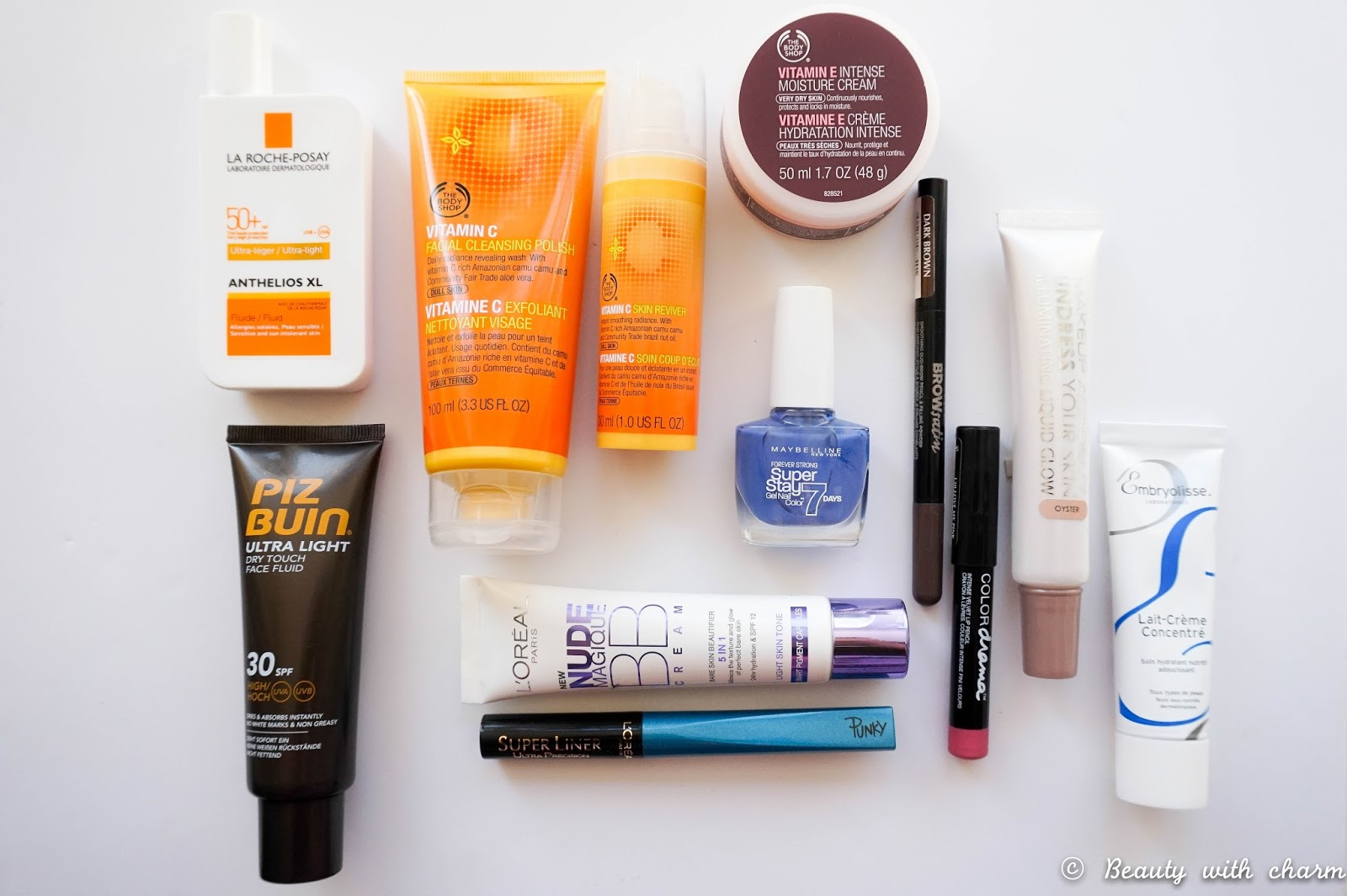 Collective Beauty Haul, La Roche Posay, Piz Buin, The Body Shop, Vitamin C, Vitamin E, Maybelline, L'Oreal, MUA, Embryolisse