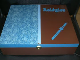 Caixa de Relogio Azul/Castanho