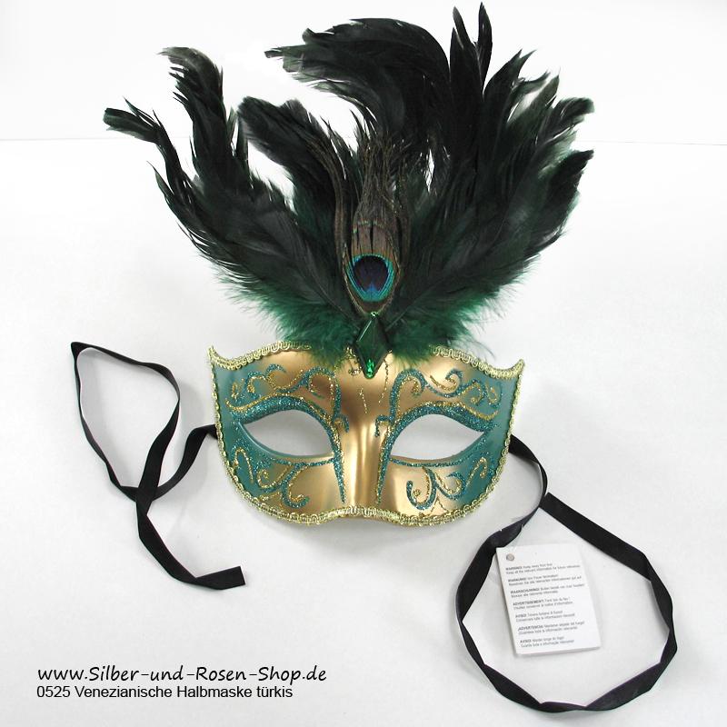 Venezianische Halbmaske in Gold und Grün mit Federnbesatz